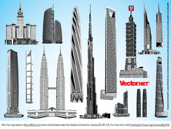 Highly detailed skyscraper vector graphics in Adobe Illustrator AI, EPS, PDF and SVG format for free download. The vector art collection contains the world's tallest existing and planned buildings.
