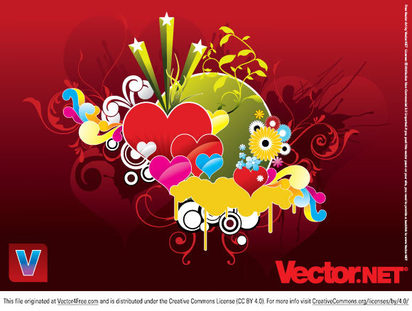 "Love gives people the kick they need to create amazing artworks. Here you can download a ""Vector Art Heart"" set with hearts in red, green and yellow - perfect for a wedding invitation or a Valentine card."