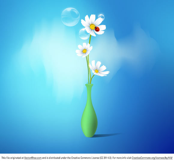 Spring flowers vase Graphic  in Adobe Illustrator CS4 vector format.