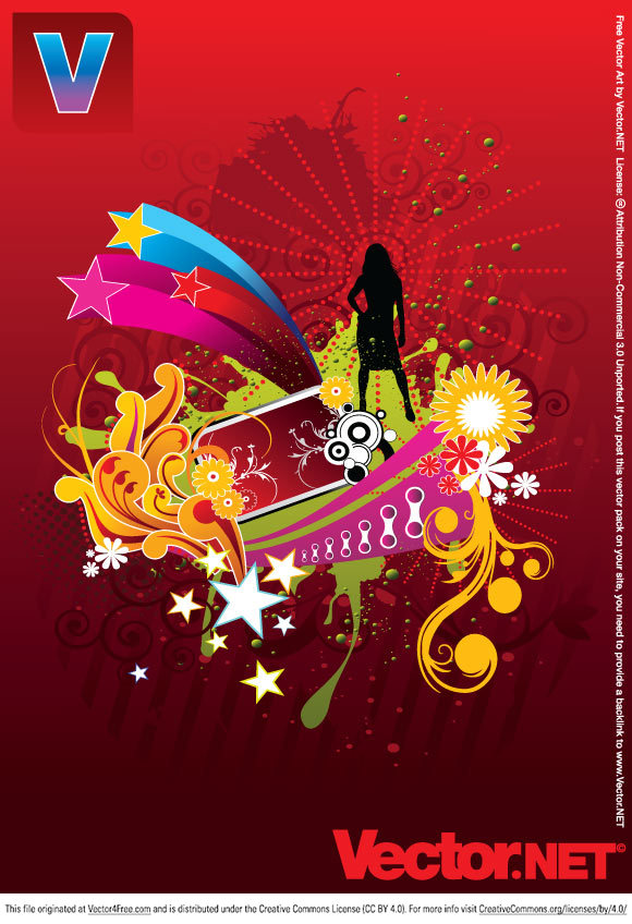 Vector art silhouette of a sexy girl striking a pose. Colorful background containing flowers, stars, swirls and ornate elements. Download this vector artwork for free. This colorful illustration is perfect for a variety of your design projects.