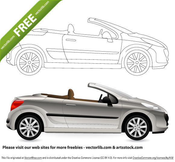 Free vetor Cabriolet Car in the EPS format.