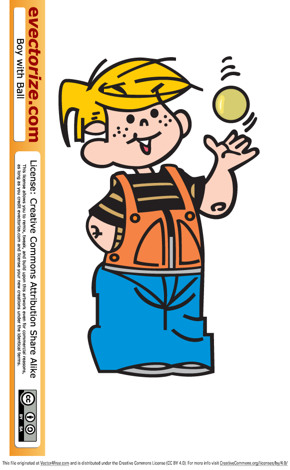 Vector clipart cartoon of a boy tossing a ball up in the air.