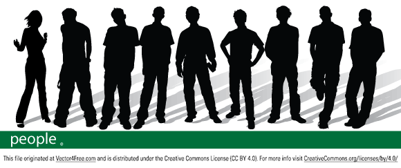 Free vector graphic of 9 peole silhouettes (1 girl and 9 man) Adobe Illustrator CS2.
