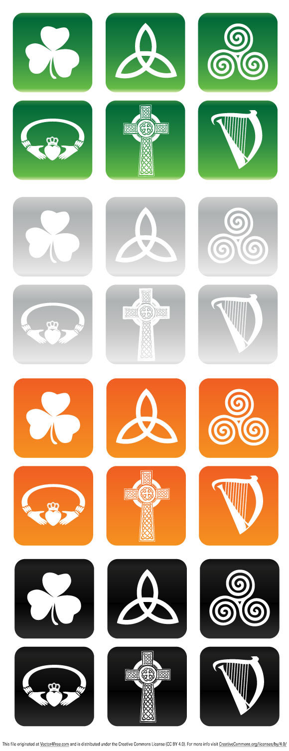 Free Vector illustration set of six Irish and Celtic Buttons.