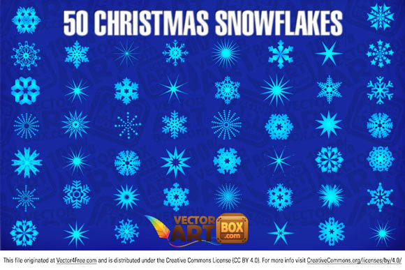 New Christmas collection contain 50 unique snowflakes. Use it to create your own Christmas  vector art. You can use it free for commercial using.