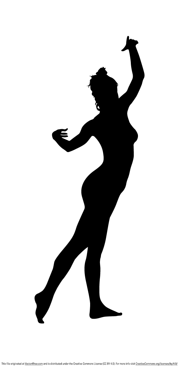 Adobe Illustrator CS5 silhouette of a naked dancing lady.