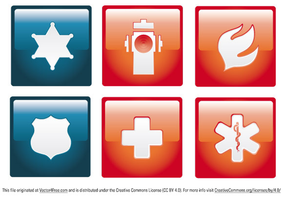 Six emergency icon set in Adobe Illustrator CS4 format.