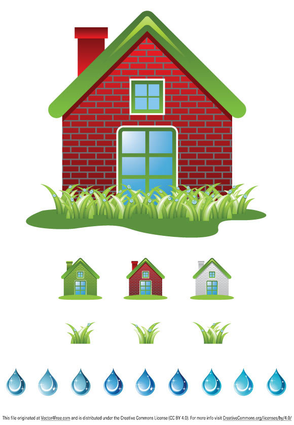 Ecology clipart set with house, grass and water drops. Useful as design element for website, blog, scrapbook, etc… Have fun using!