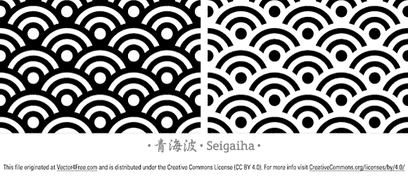 Seigaiha it literally means the wave of blue sea. It's a wavy pattern that consists of overlapping circles and only show half portion of the circle. It has its root back in ancient Chinese map depicting sea wave and pattern on Japanese apparel. Besides seamless pattern in Illustrator AI and Vector EPS format (minimum CS version), Photoshop pattern presets and source PSD also included too.