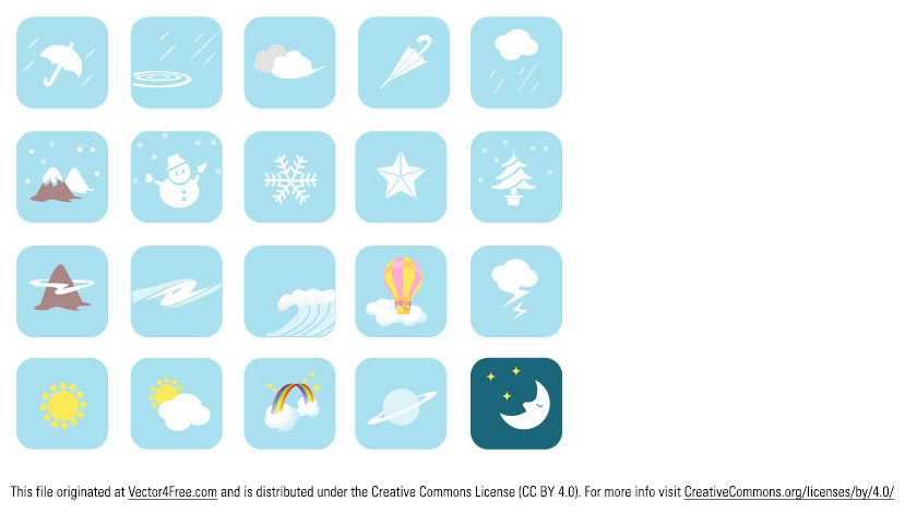 Weather Vector Symbols - Free Vector Image includes 20 weather icons.