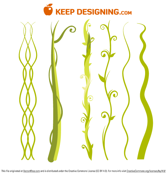 This free vector file contains six unique vines, beanstalks, and jungle plants. Some are detailed and intricate while others are simple and clean.