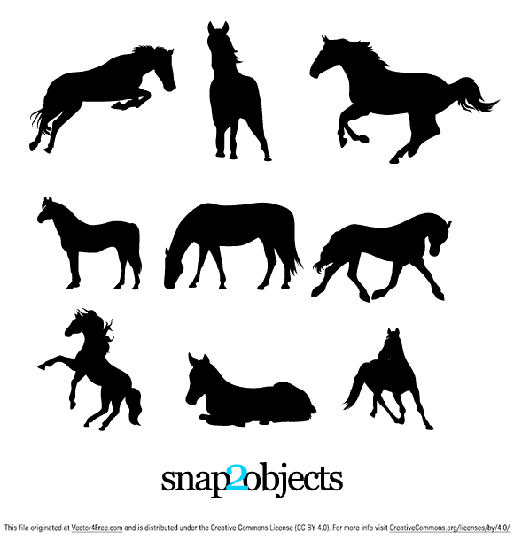 9 Horse Silhouettes Vector free to use. Hope you will find them  useful in your projects.