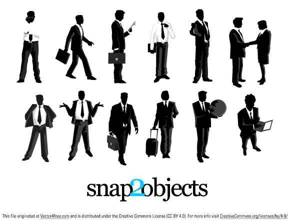 12 Free Vector Businessmen Silhouettes in different vector formats (eps, swf, svg, wfm). Feel free to use them in your projects and share the final outcome with us here at Snap2Objects.