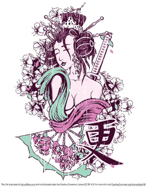 Free T-shirt Design - Geisha vector file in the EPS format.