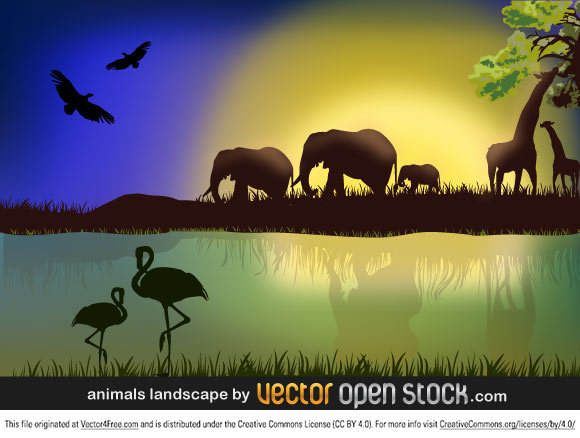 African savannah landscape with animals and nature.
