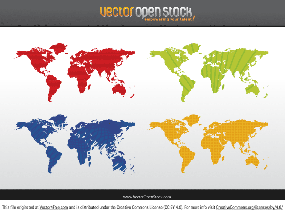free vectors graphics - World map - 4 colors