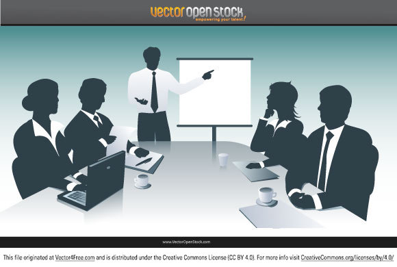 Free Business presentation vector. Businessman and businesswoman in a presentation. Business team in a meeting. Designed and brought to you by VectorOpenStock.com. Under Creative Commons 3.0 Attribution.
