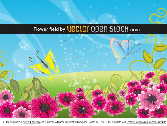 Field of flowers with butterflies vector.