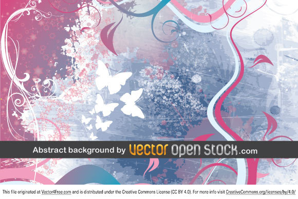 Abstract background Vector composition with elements of grunge, nature, floral, butterflys and swirls.