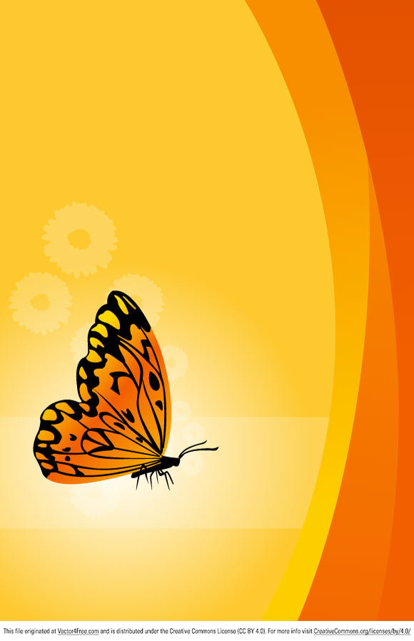 Illustration of vector floral background with butterfly.