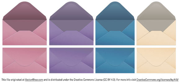 A set of four vector envelopes created in Illustrator.