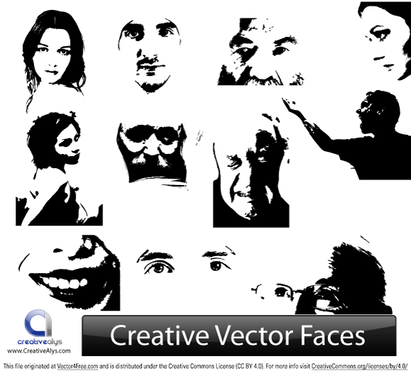 Use these creative face illustrations for your logo designs, web designs and graphic designs. Really amazing vector collection of face illustrations.