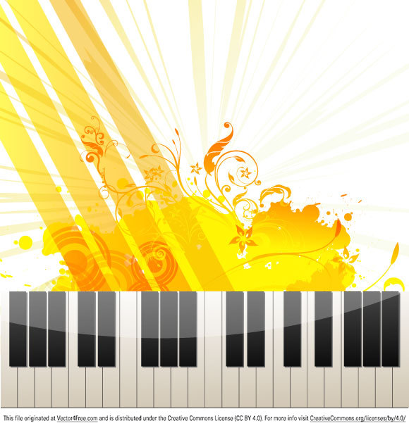 Illustration of piano keys on abstract floral grungy background.