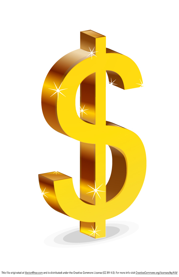 Illustration of isolated dollar sign against white background.