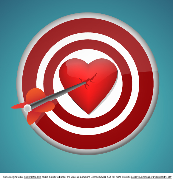 free vectors graphics - Breaking Heart with the Dart