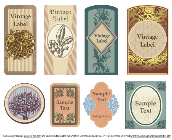 Collection of vintage vector labels with floral elements and space for text.