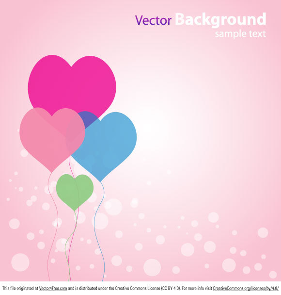 Illustration of abstract vector background with heart shape balloons.