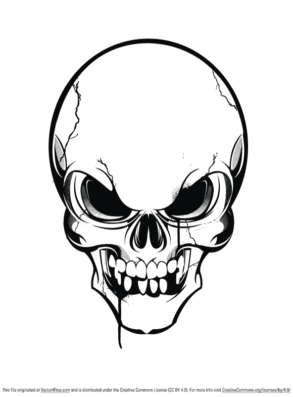Black and white vector of a skull.
