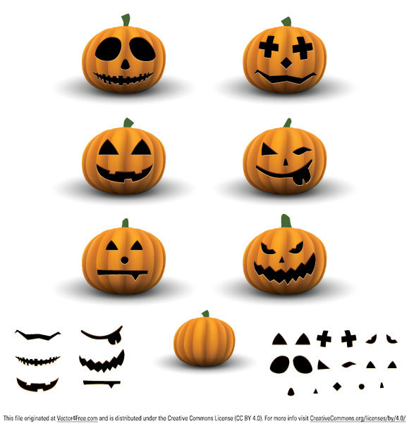 Scary halloween pumpkins with six different carved faces or you can make a carving yourself with the included clipart elements and a fresh clean pumpkin to carve :) Useful as clipart element for your website, blog or scrapbook.