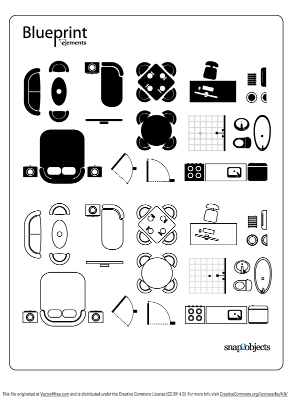 Useful free vector elements for blueprint style.