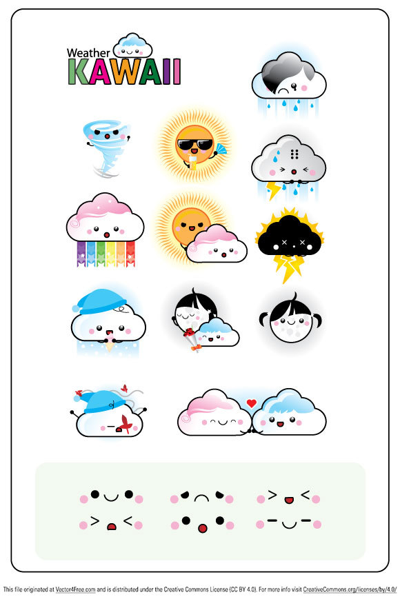 Inside this pack you can find the most used weather signs: rainy, sunny, snowy, electric storm, cloudy, clear night, windy, tornado… from them you can change parts and make all the weathers you want.