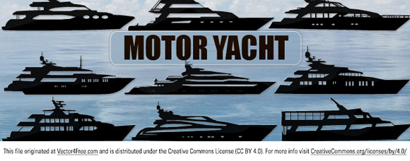 New clip art vector silhouettes of motor yacht. Free for commercial used.  Link to  the author.
