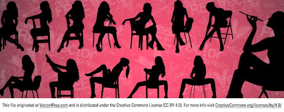 New clip art silhouettes girls sitting on chair. Free for commercial used.  Link to the author.
