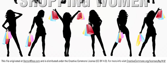 free vectors graphics - Silhouette Shopping Women