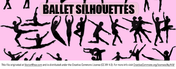 New free vector collection silhouettes of ballet dancers. Free for commercial used.  Link to  the author.
