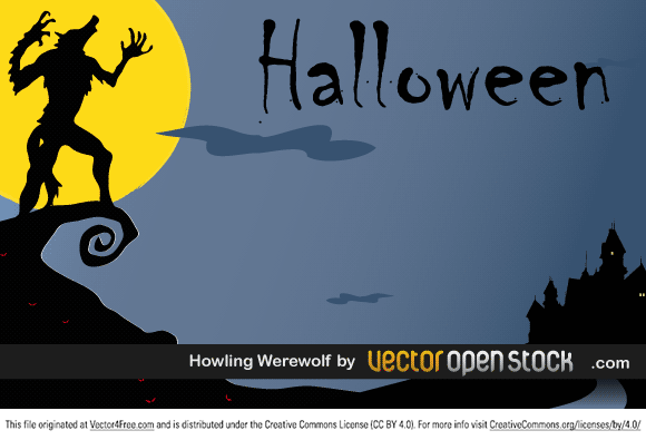 Halloween Postcard. Howling werewolf in an terrifying night with horror castle. Under Creative Commons Attribution License. Link back to VectorOpenStock.com in case you use it in your designs.
