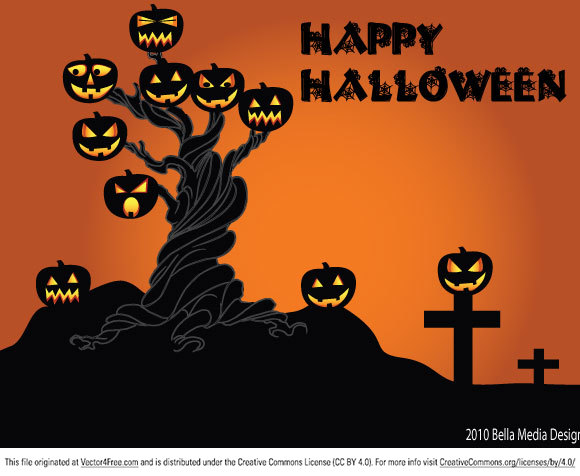 Halloween tree vector free to download.