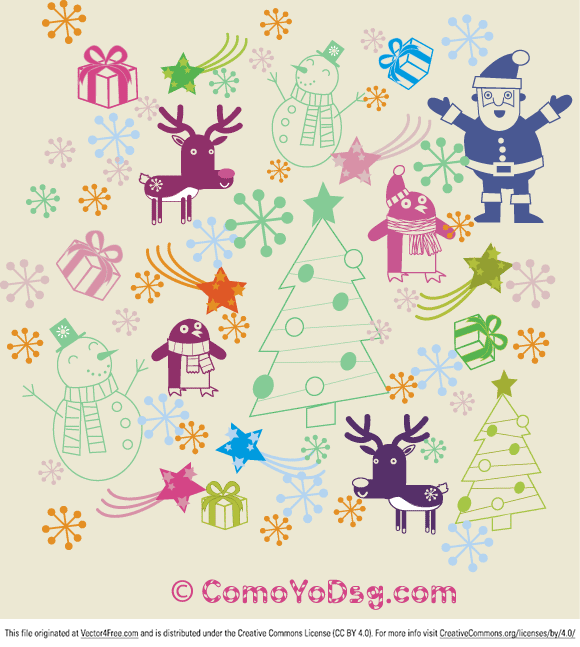 Christmas Decoration elements like: winter,christmas tree, snowflake, penguin, santa, reindeer