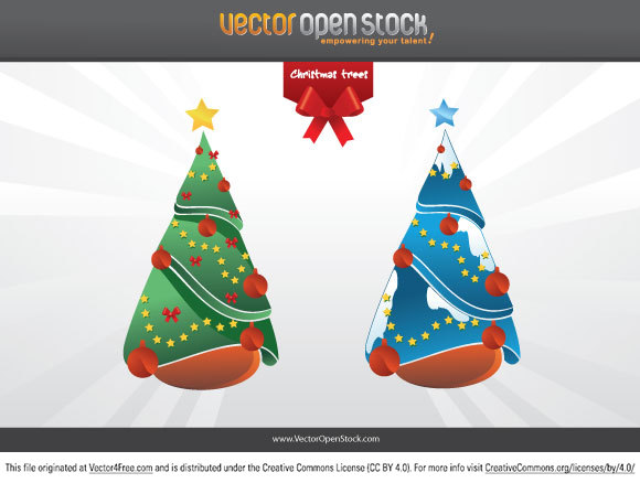 Two christmas trees in diferent colors. This vector art is under the Attribution Creative Commons 3.0 license That means YOU MUST GIVE ATTRIBUTION to Vector Open Stock for this artwork either if you use it in your designs or you republish in a website. Place a link back to Vector Open Stock (www.vectoropenstock.com). Thanks for your cooperation.