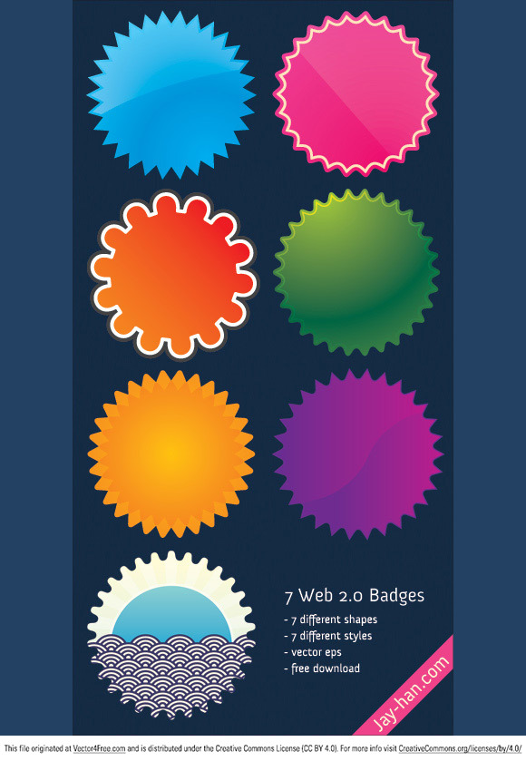 7 different styles of badges in one vector EPS file, all free,  just download and use it. The most important thing is the shape of the badges, the graphics inside are the possibilities of designs, you can always change it to make it yours.