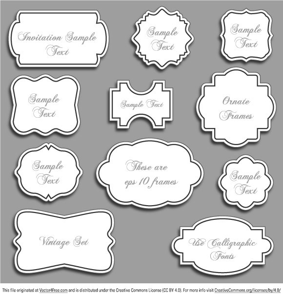 Abstract vintage ornate vector frames with white space for your text.