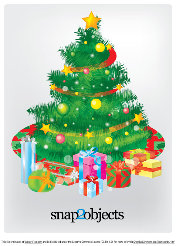 A very classic pack of gifts under the tree in 3 vector formats.