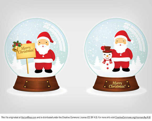 Vector Santa Christmas Snowballs