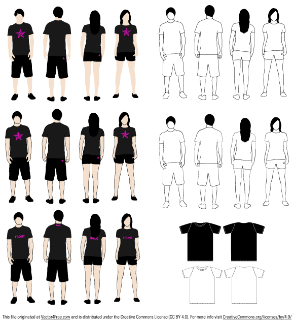 This free vector files contain 4 T-Shirt Models and 2 T-Shirt Shapes, front and back, for girls and boys.