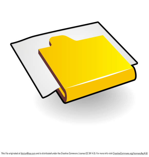 Folder with paper. Vector icon