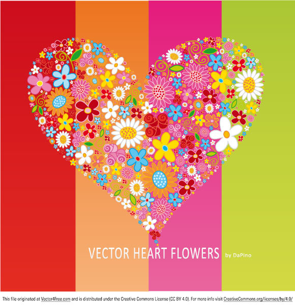 free vectors graphics - Vector HEART Flowers